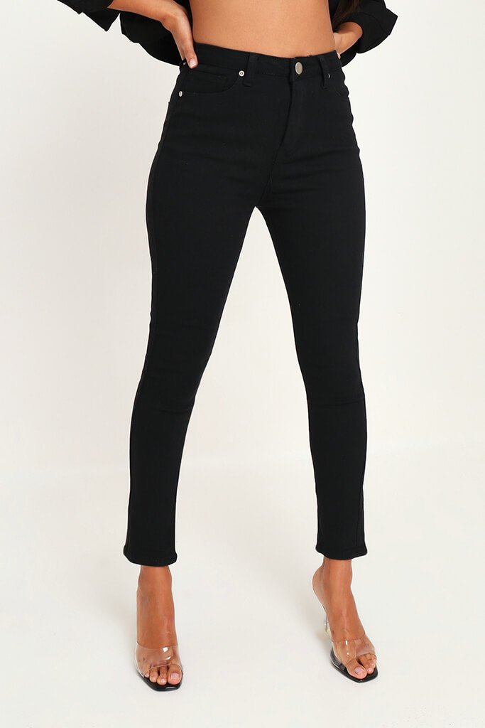 Black Stretch High Waisted 5 Pocket Skinny Jeans view 2