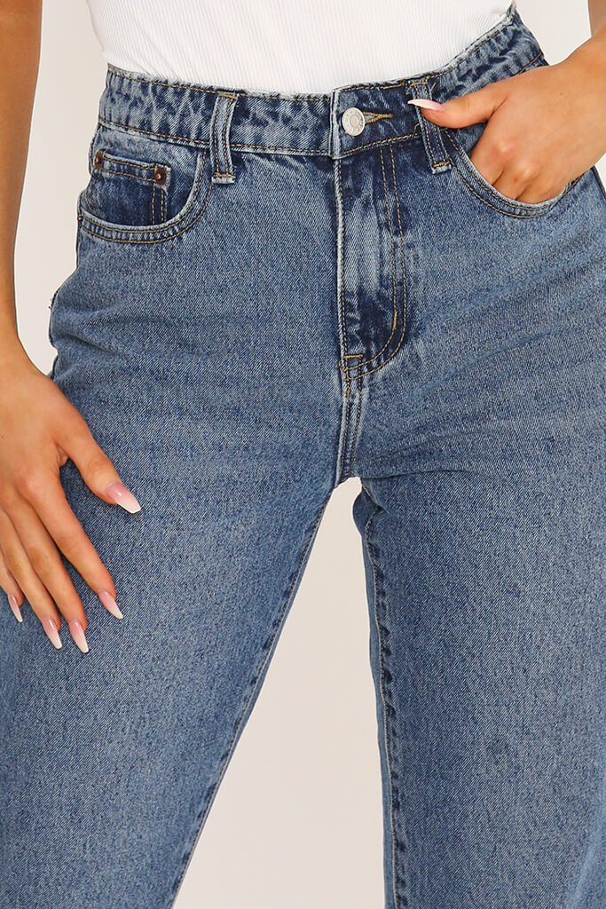 Mid Blue High Rise Raw Hem Mom Jeans view 4