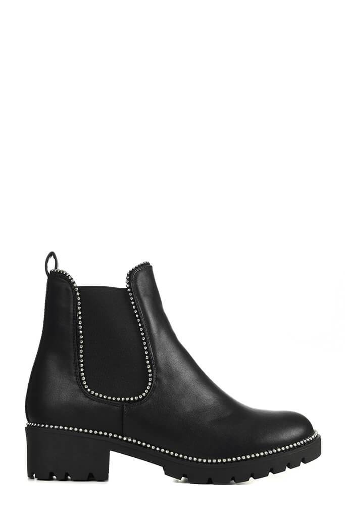 Black Studded Trim Chelsea Boots view 4