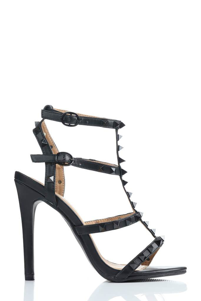 Black Studded High Heel Sandals view 4