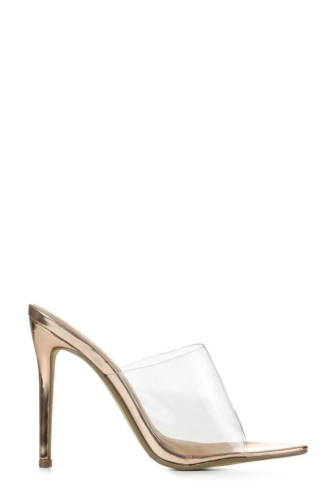 Rose Gold Perspex Heeled Mules With Pointed Toe
