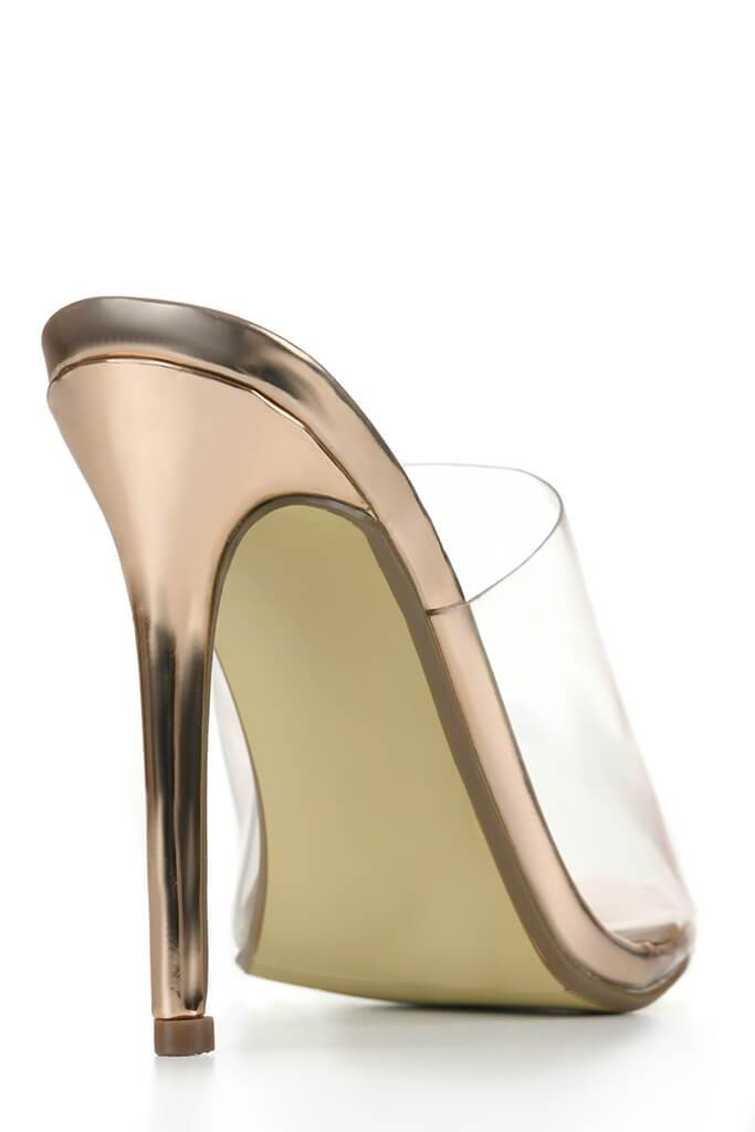 Rose Gold Perspex Heeled Mules With Pointed Toe view 2