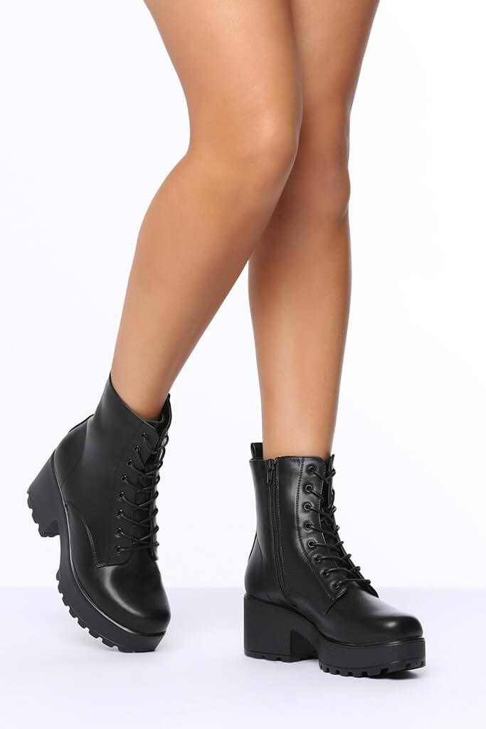 Black Lace Up Chunky Ankle Boots