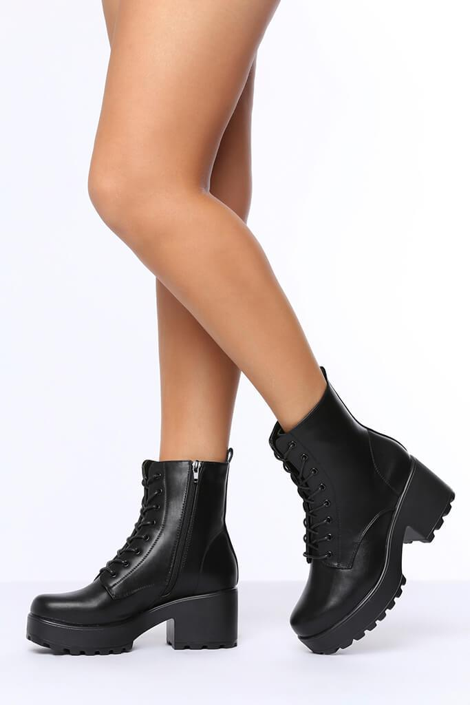 Black Lace Up Chunky Ankle Boots view 2