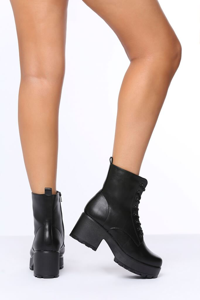 Black Lace Up Chunky Ankle Boots view 3