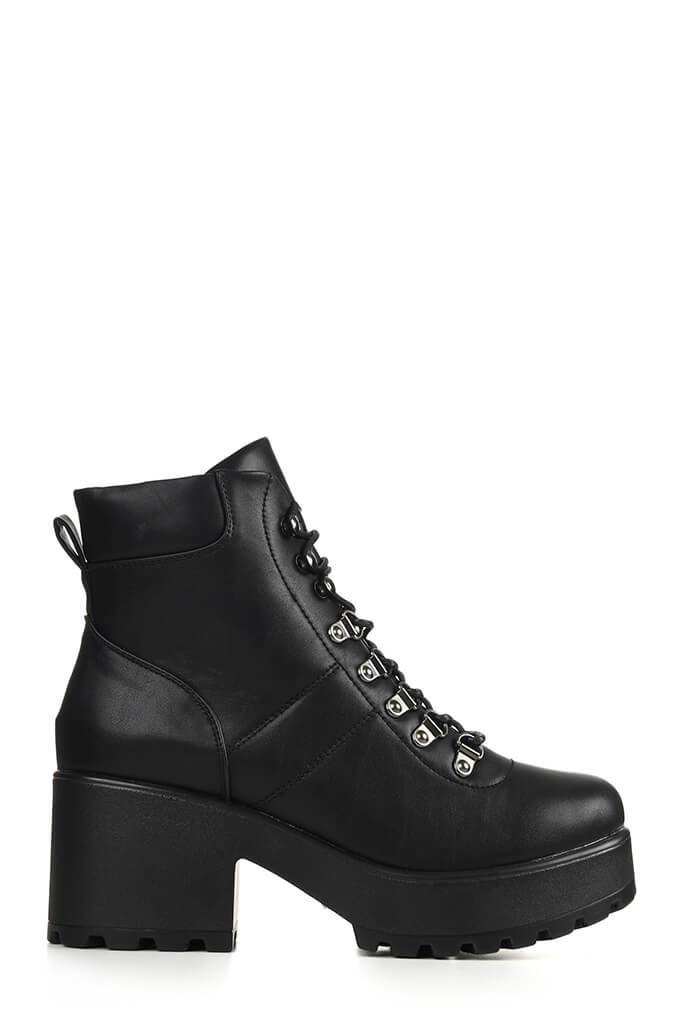 Black Chunky Hiking Ankle Boots view 4