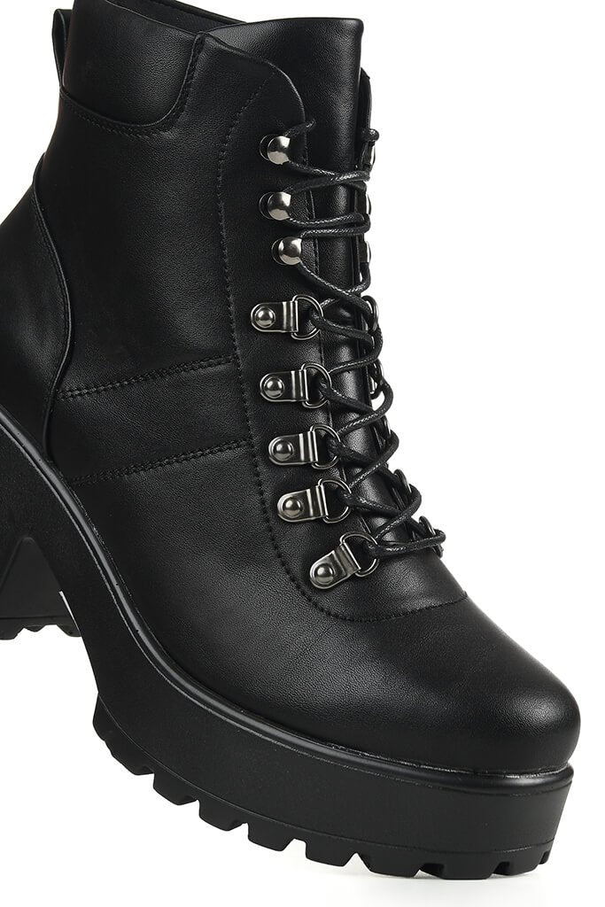 Black Chunky Hiking Ankle Boots view 5
