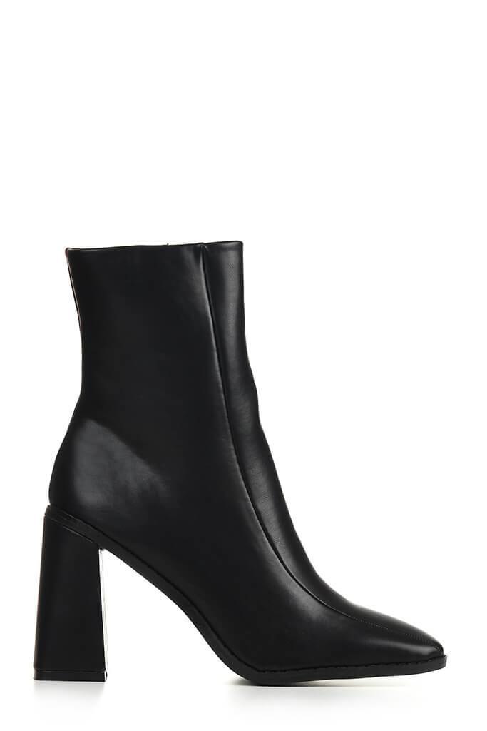 Black Flared Heel Ankle Boots view 4