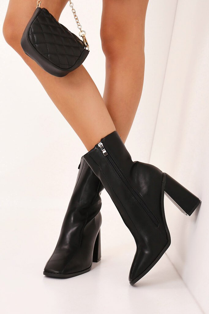 Black Flared Heel Ankle Boots view 2