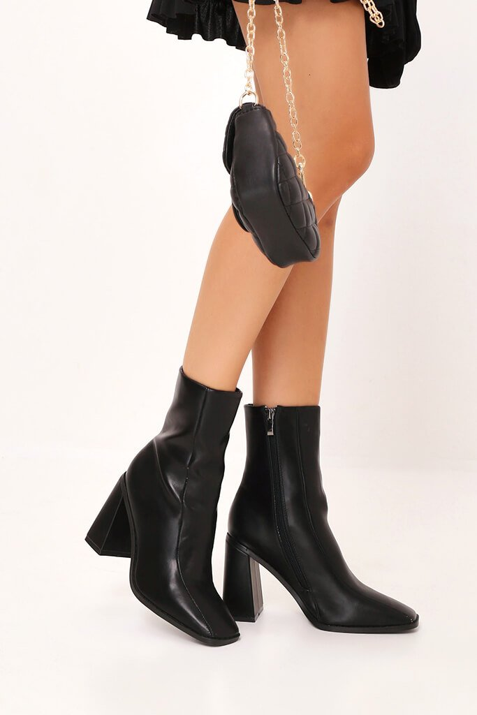 Black Flared Heel Ankle Boots