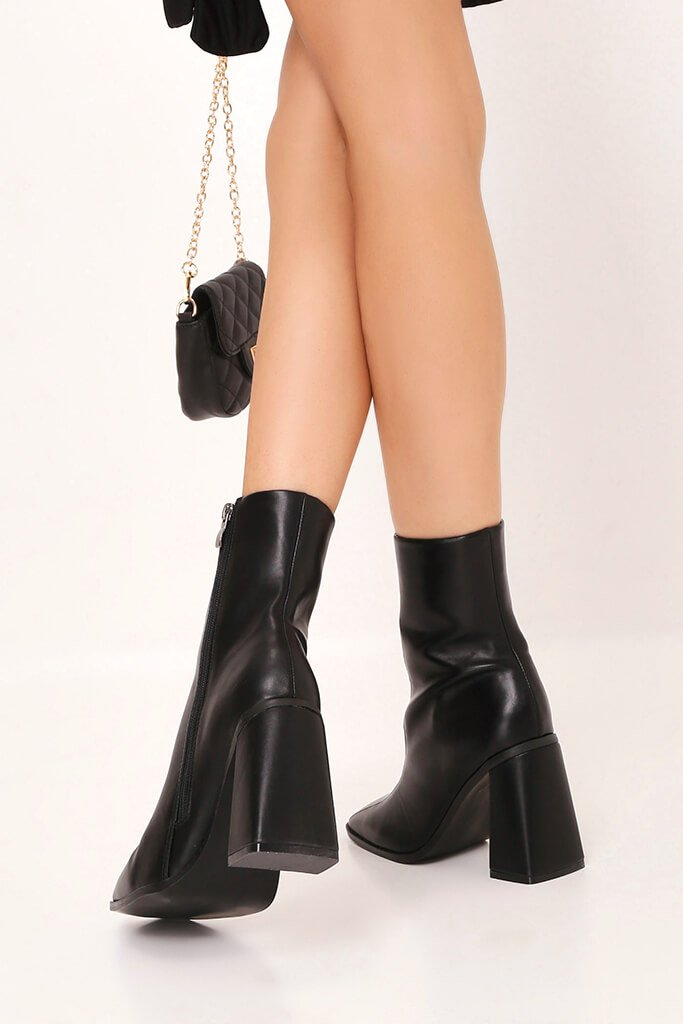Black Flared Heel Ankle Boots view 3