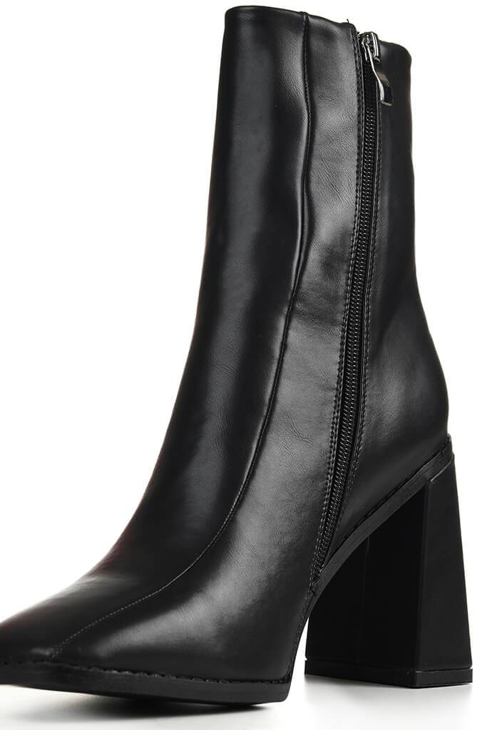 Black Flared Heel Ankle Boots view 5