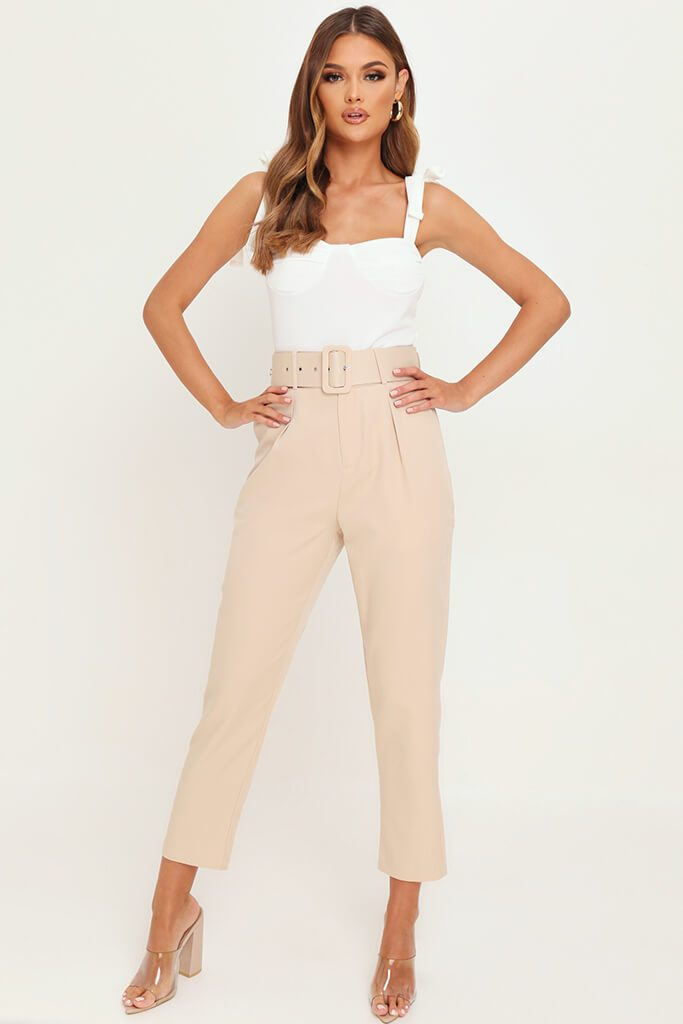 Nude Belted Cigarette Trousers