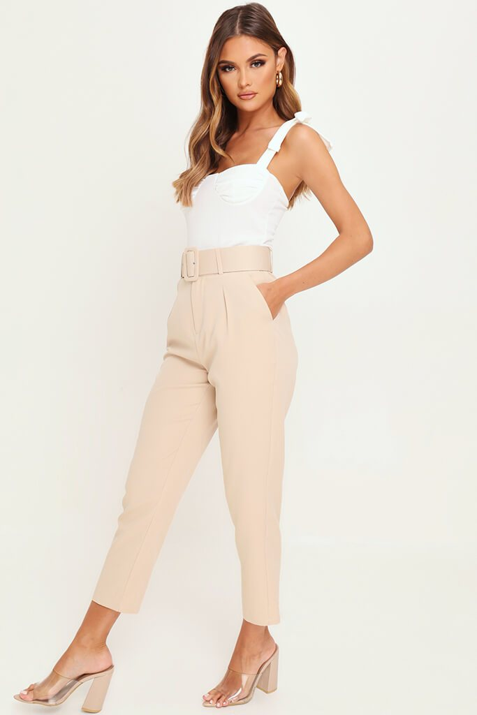 Nude Belted Cigarette Trousers view 3