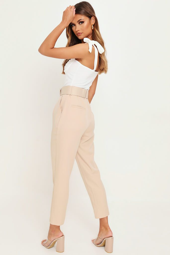 Nude Belted Cigarette Trousers view 5