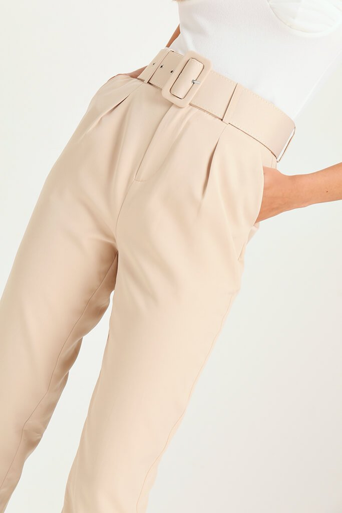 Nude Belted Cigarette Trousers view 4
