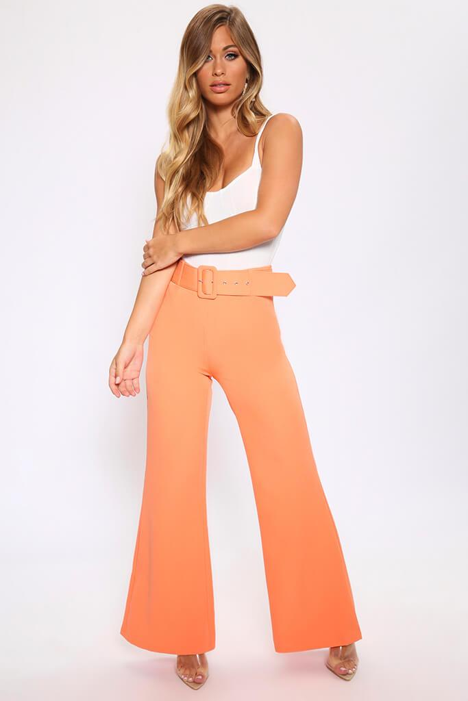 Light Orange Flared Wide Leg Trousers With Belt