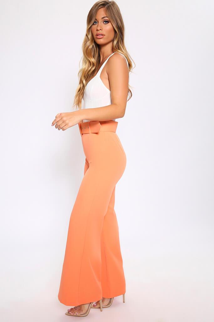 Light Orange Flared Wide Leg Trousers With Belt view 3