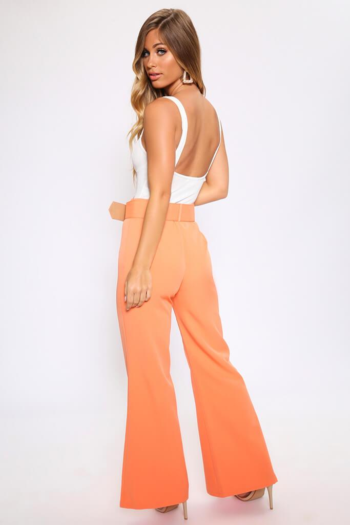 Light Orange Flared Wide Leg Trousers With Belt view 5