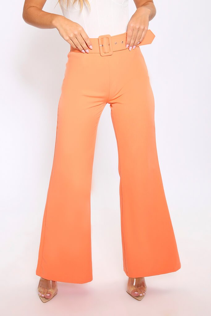 Light Orange Flared Wide Leg Trousers With Belt view 2