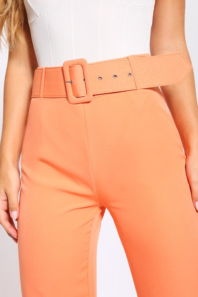 Light Orange Flared Wide Leg Trousers With Belt view 4