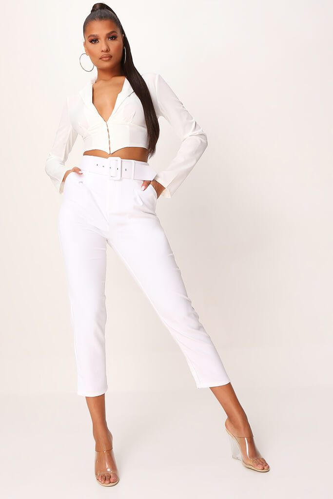 White Belted Cigarette Trousers view 4