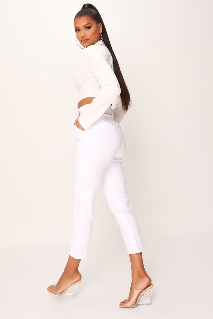White Belted Cigarette Trousers view 3