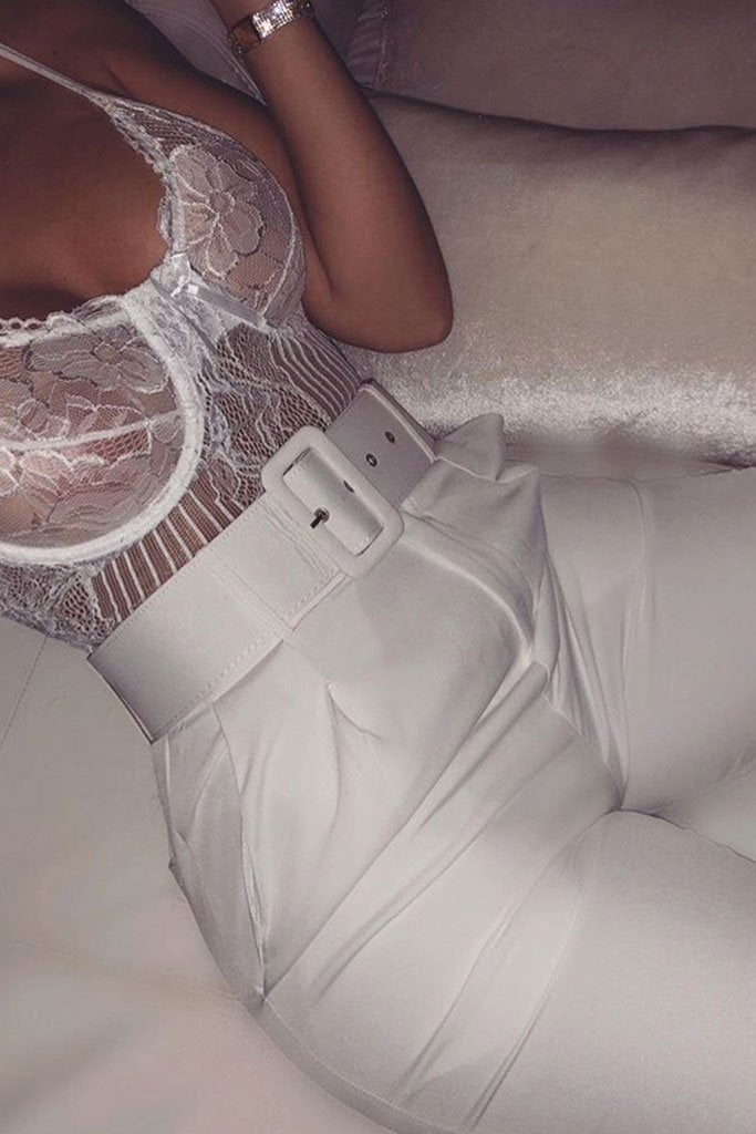 White Belted Cigarette Trousers