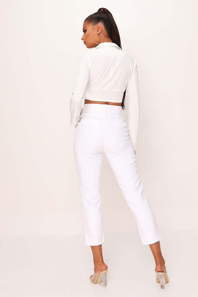 White Belted Cigarette Trousers view 5