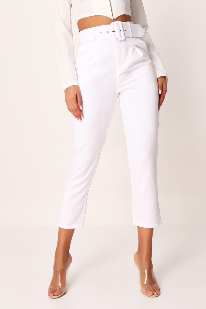White Belted Cigarette Trousers view 2