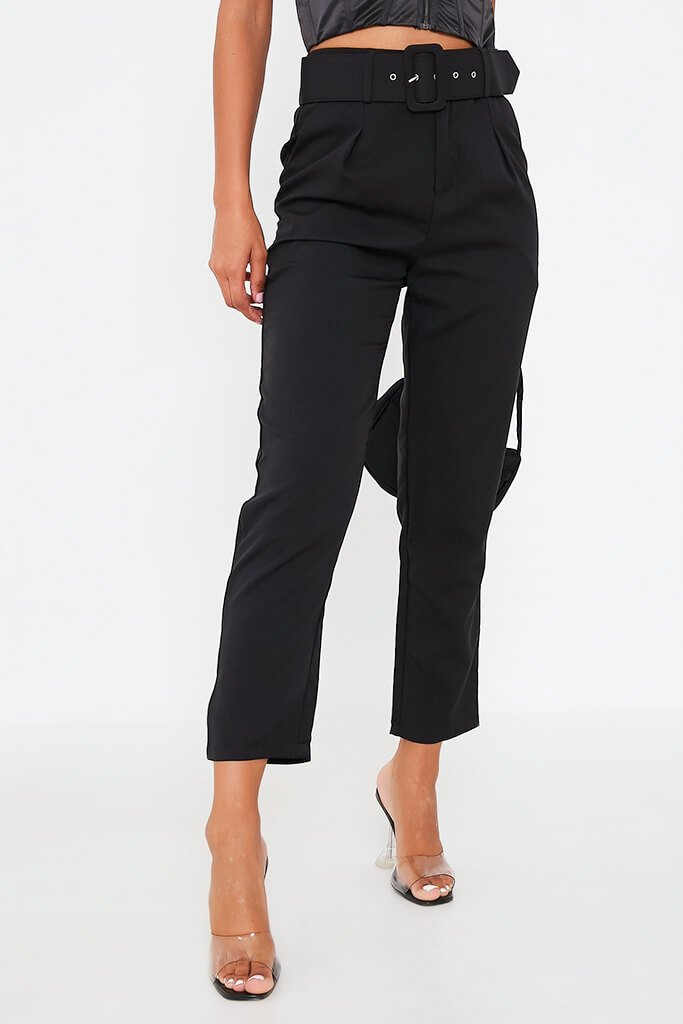Black Belted Woven Straight Leg Trouser view 2