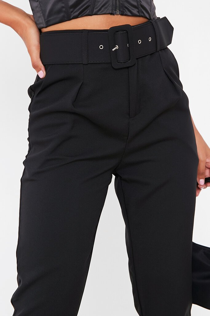 Black Belted Woven Straight Leg Trouser view 4