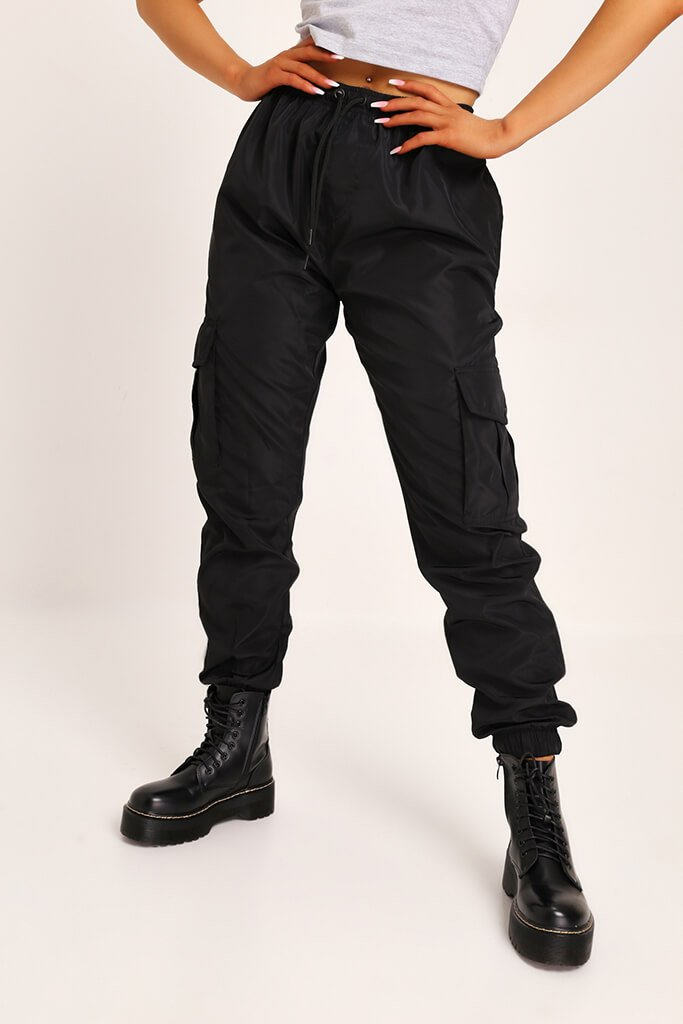 Black Cuffed Cargo Trousers view 2