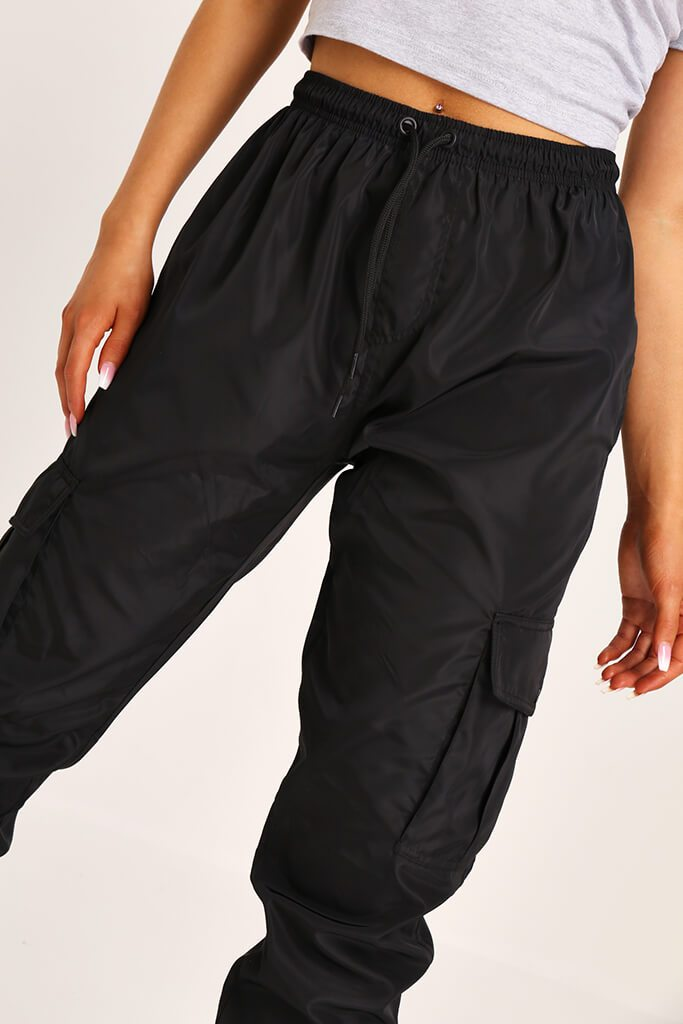 Black Cuffed Cargo Trousers view 4