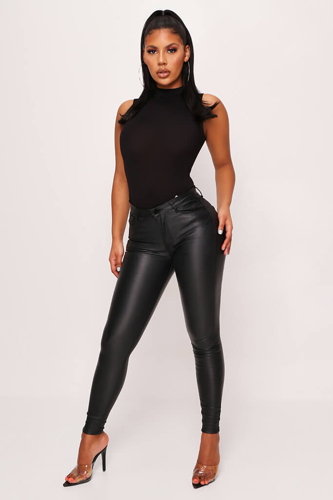 Black High Waisted Coated Skinny Jeans view main view