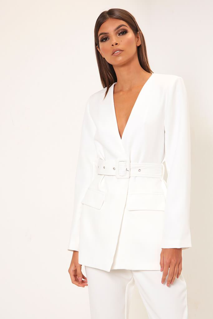 White Plunge Belted Blazer view main view