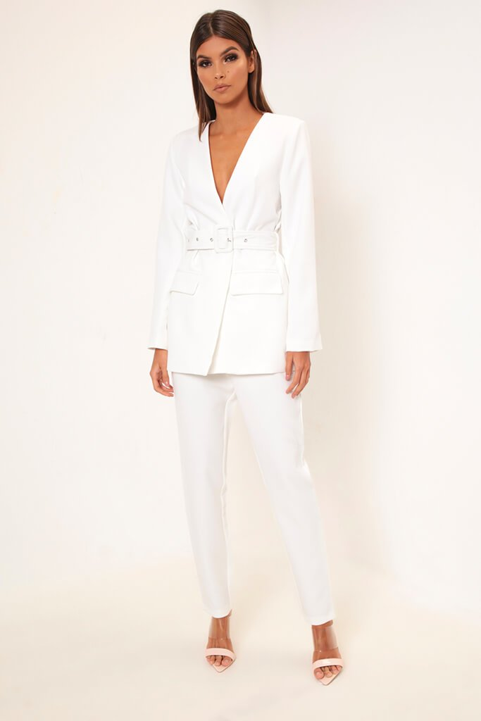 White Plunge Belted Blazer view 2