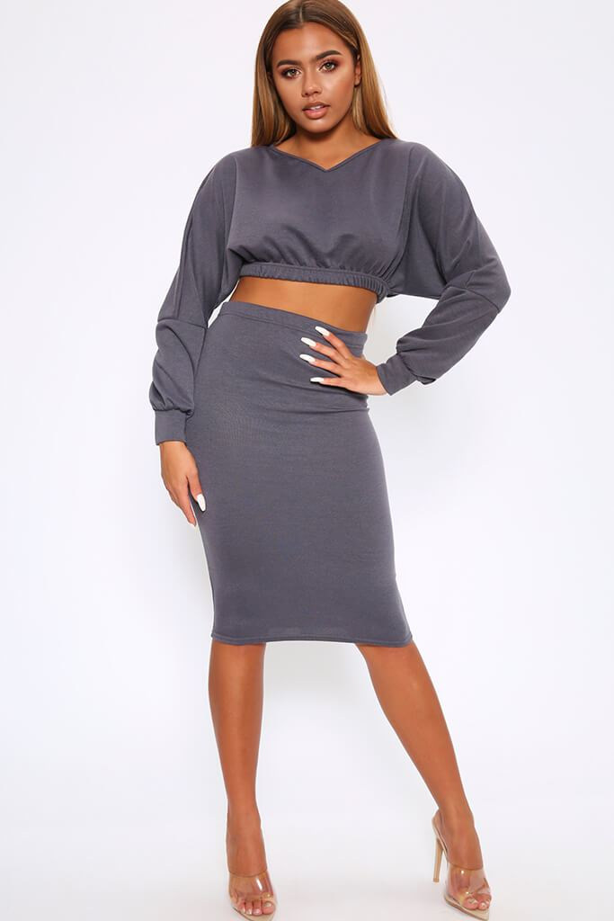 Navy Cropped Jumper And Tube Skirt Lounge Set
