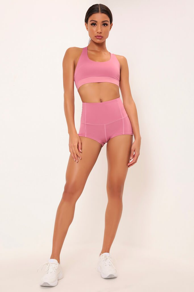 Fuchsia Basic High Waisted Active Shorts view 2