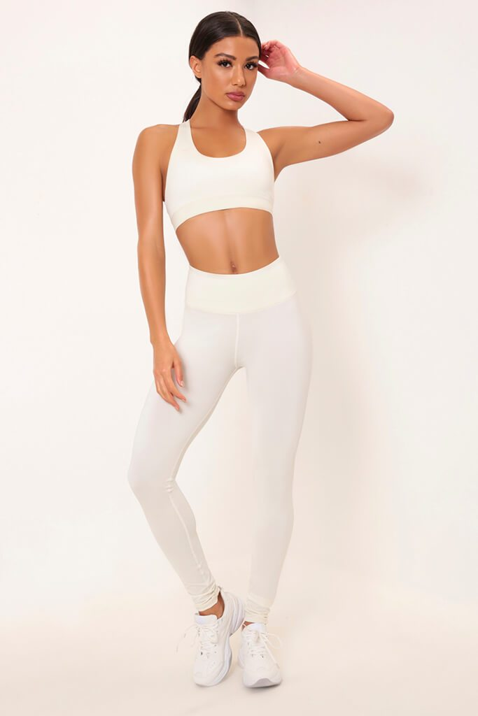 Cream Basic Active Leggings