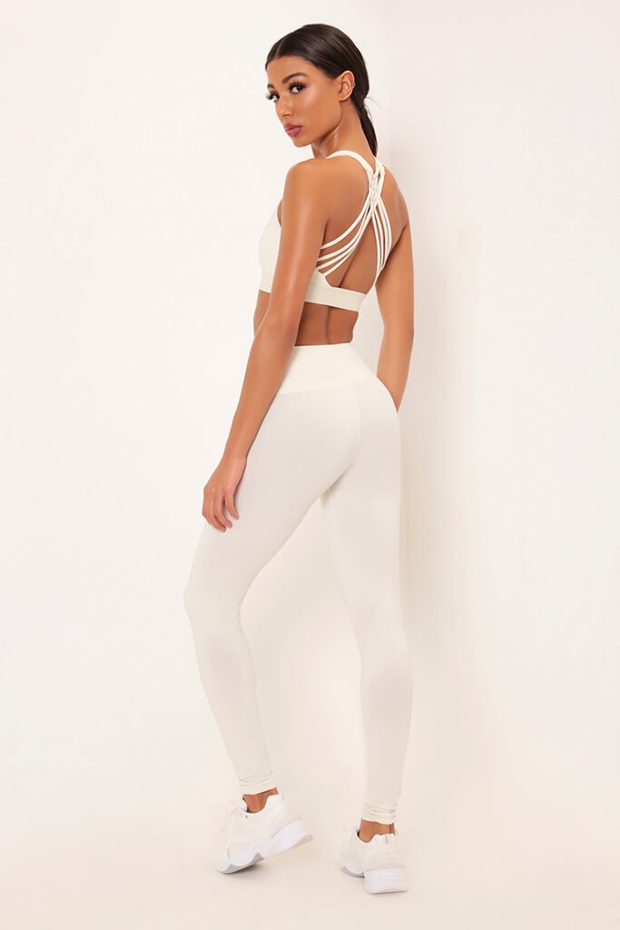 Cream Basic Active Leggings view 5