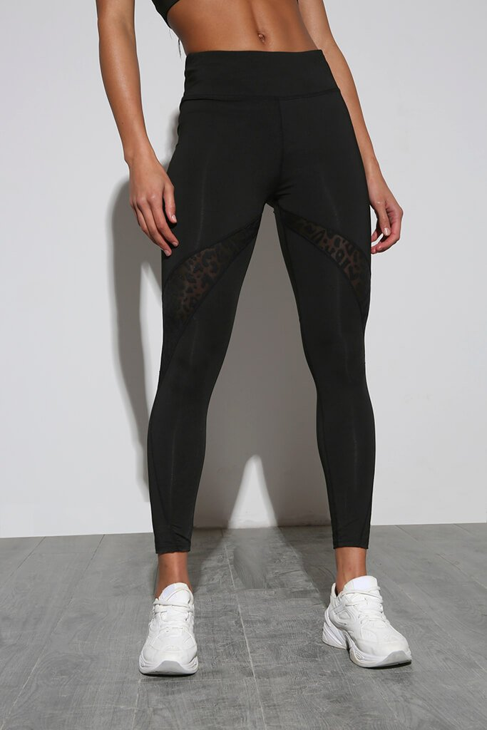 Black Leopard Print Mesh Insert Active Leggings view 2