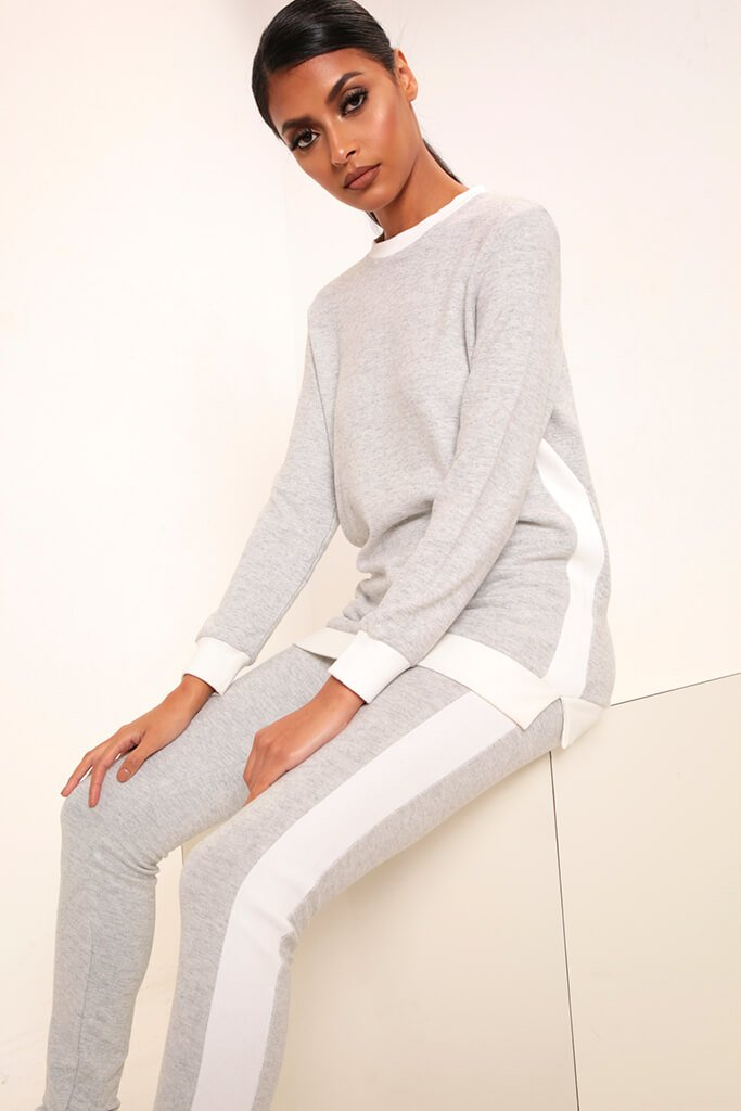Grey Side Stripe Soft Touch Brushed Loungewear Set view 3