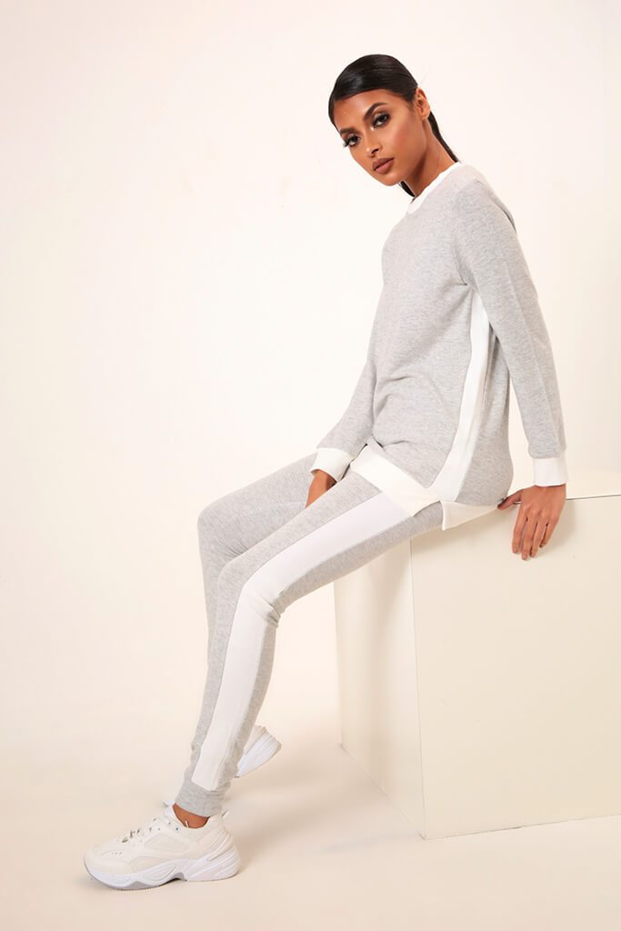 Grey Side Stripe Soft Touch Brushed Loungewear Set