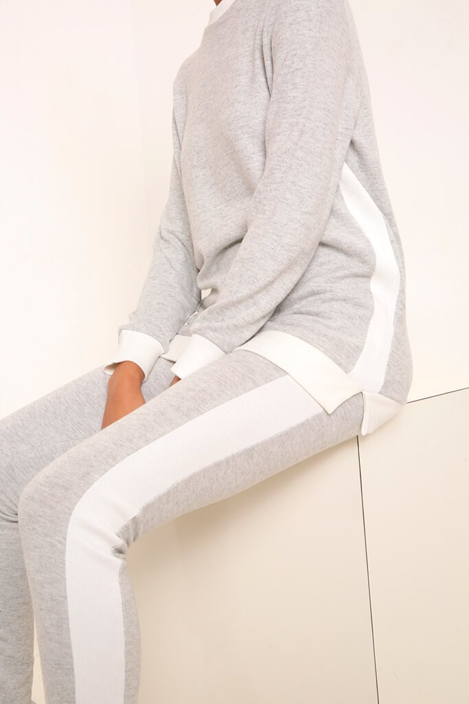 Grey Side Stripe Soft Touch Brushed Loungewear Set view 4