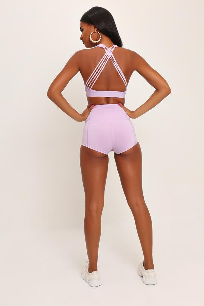 Lilac Basic High Waisted Active Shorts view 4