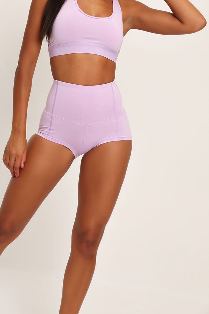 Lilac Basic High Waisted Active Shorts view 3