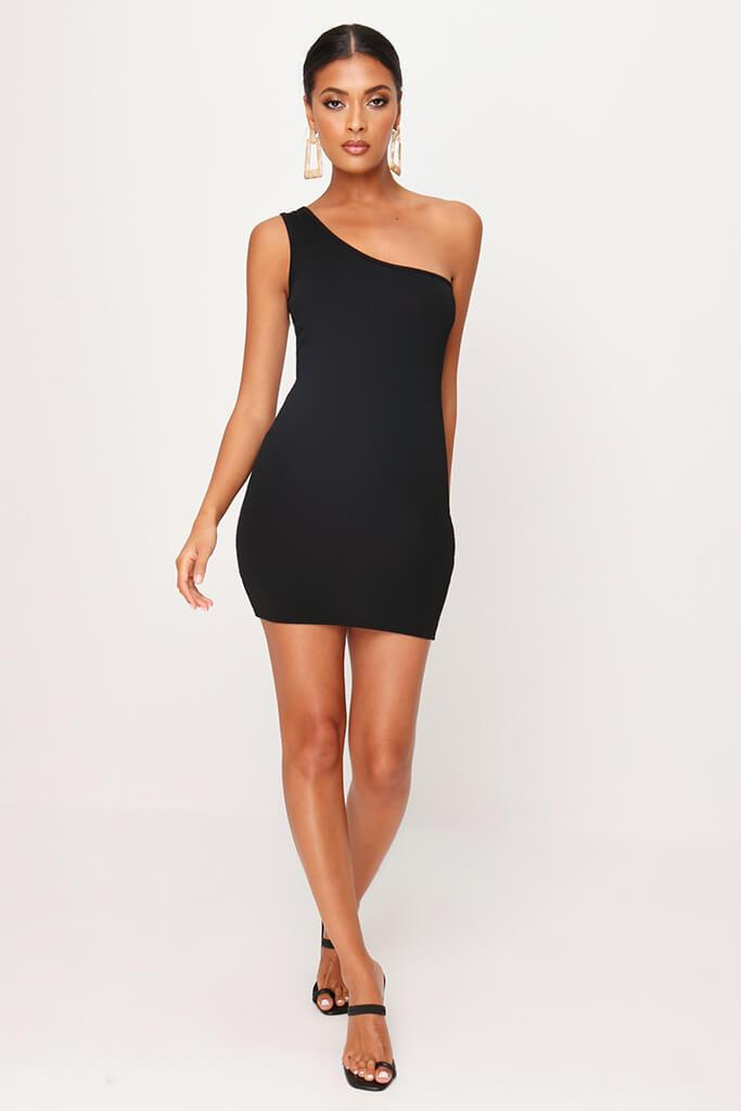 Black One Shoulder Mini Dress view 2