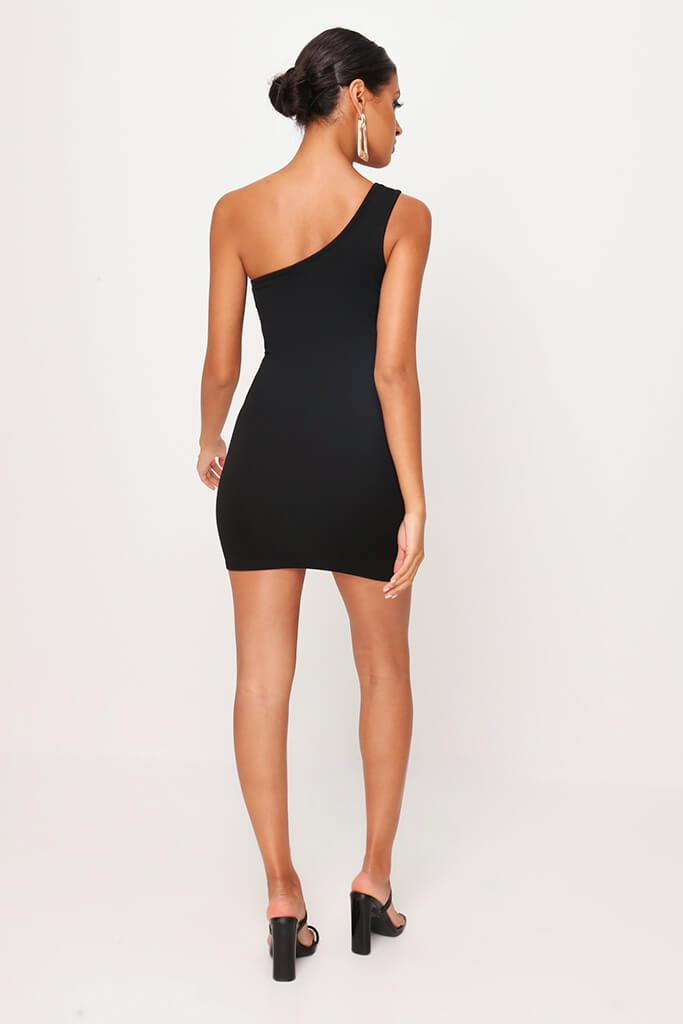 Black One Shoulder Mini Dress view 5