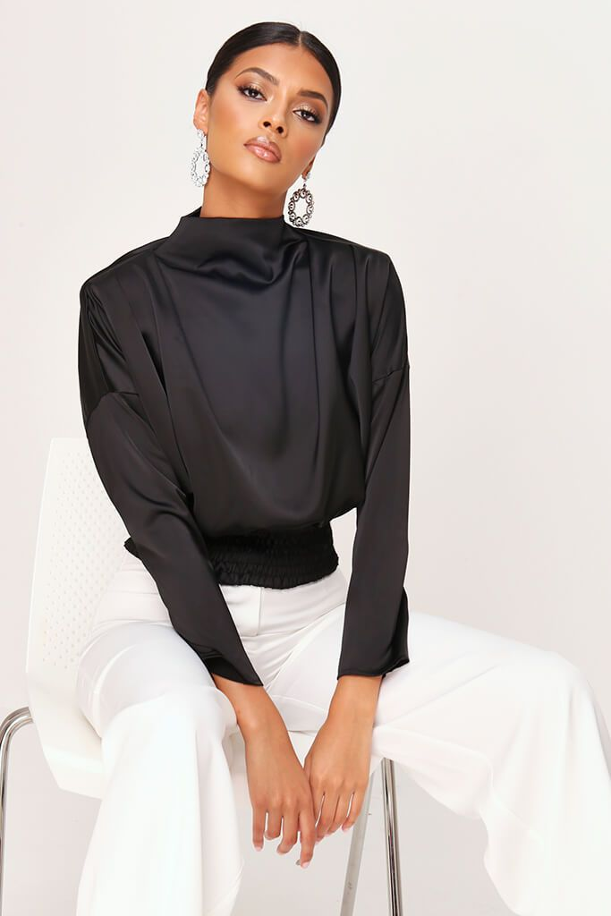 Black High Neck Gathered Waist Blouse view main view
